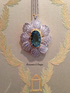 Rosamaria G Frangini | High Jewellery Classic | Bucellati 18K White and Yellow Gold Brooch Pendant with Aquamarine and Diamonds.