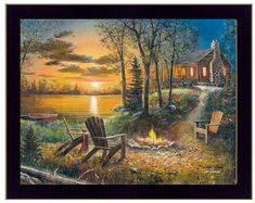 Fireside by Jim Hansel, Satin Finish Art on Metal, Cabin Lodge Country home decor wall art, FREE Shi Lighted Canvas, Lake Cabins, Thomas Kinkade, 500 Piece Puzzles, Go Camping, Home Decor Wall Art, Wall Art Prints, Scenery, Beautiful Pictures