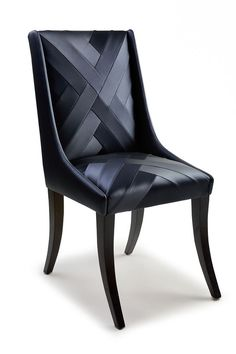 Chevron dining chair - Black vinyl dining chair upholstered with chevron detail: