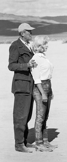 """Marilyn and director John Huston on the set of """"The Misfits"""", 1960."""