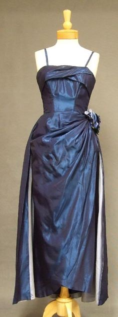 ~Midnight Blue Taffeta 1950's Bombshell Evening Gown~   VINTAGEOUS VINTAGE CLOTHING