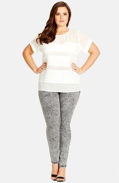 City Chic 'White Noise' Stretch Skinny Jeans (Plus Size) available at #Nordstrom