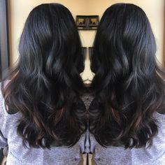Black with caramel bayalage! #hairbysprung