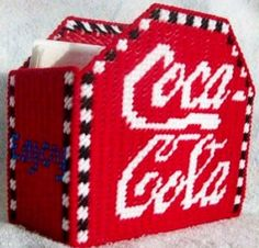 Items similar to COCA-COLA - Napkin Holder - Kitchen Accessory - Soda Drink- Refreshment on Etsy Plastic Canvas Books, Plastic Canvas Coasters, Plastic Canvas Tissue Boxes, Plastic Canvas Crafts, Plastic Canvas Patterns, Plastic Craft, Paper Plate Holders, Napkin Holders, Coca Cola