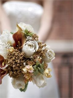Brown and Ivory Wedding Flowers