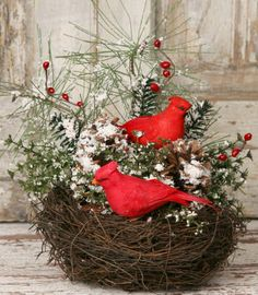 New Country Primitive WINTER FLORAL Snowy Pine CARDINAL BIRD NEST Arrangement