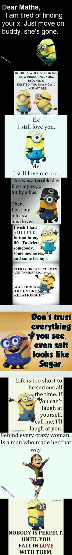 Top 10 Funny Quotes About Exes By The #Minions Memes About Exes, Funny Quotes About Exes, Super Funny Quotes, Minion Jokes, Minions Quotes, Funny Minion, Disneyland, Funny Tumblr Comments, Funny Happy