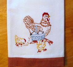 Mother Hen - Hand embroidered floursack tea towel with vintage embroidery design