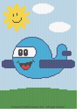 Crochet Patterns - AIRPLANE Baby Afghan Graph Pattern Chart