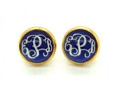 Navy blue  Monogram earring post gold plated by MonogramPendant, $6.99