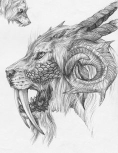 Ballpoint pen on old pic I did when I was Some kind of sabretooth ram hy. - Ballpoint pen on old pic I did when I was Some kind of sabretooth ram hybrid dragon thing. Creepy Drawings, Dark Art Drawings, Animal Drawings, Cool Drawings, Pencil Drawings, Fantasy Kunst, Fantasy Art, Arte Horror, Dragon Art