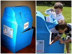 You've seen 'lil buggers mail party, now here's a closer look at how we crafted this working mail box out of cardboard. The whole project t. Diy Arts And Crafts, Diy Crafts For Kids, Projects For Kids, Craft Projects, Kids Diy, Craft Ideas, Children Crafts, Toddler Fun, Toddler Preschool