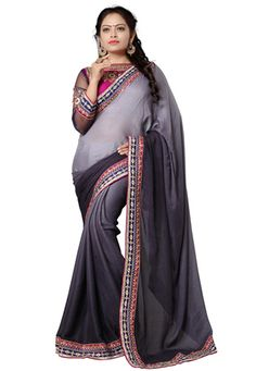 Shaded Grey and Black Faux Georgette Jacquard Saree with Blouse