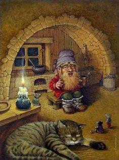 Elves Faeries Gnomes: Gnome with cat. Art And Illustration, Illustrations, Fantasy Kunst, Fantasy Art, Art Magique, Elves And Fairies, Fairytale Art, Animation, Fairy Art