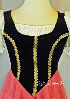 Costume inspiration: Black Bodice Ballet Dress- Rose Skirt & Gold Trim, from www.encorecostumecouture.com. dance; princess; cosplay