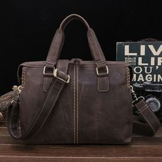 69.90$  Buy now - http://alixuf.worldwells.pw/go.php?t=32791831750 - Lederen tas Crazy Horse Mannen Tassen Handtas Schouder 13 inch Laptop crossbody Tas mannen Aktetassen Tote Mannen Messenger tass