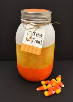 Candy Corn Mason Jar | Easy Halloween Crafts by @dancers4life