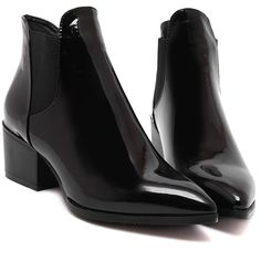SheIn(sheinside) Black Point Toe Stretch Side Inserts Ankle Boots (54 CAD) ❤ liked on Polyvore featuring shoes, boots, ankle booties, black winter boots, black patent leather booties, platform boots, black bootie and black boots