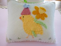 Easter Chick with Flower Felt Pillow