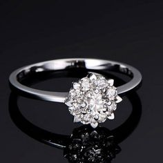 FASHION NEW Diamond Solitaire Solid 14K White Gold Halo Engagement Wedding Ring on Etsy, $966.00