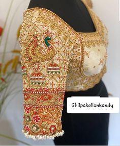 White Blouse Designs, Blouse Neck Designs, Peacock Blouse Designs, Blouse Patterns, Wedding Saree Blouse Designs, Pattu Saree Blouse Designs, White Saree Blouse, Mirror Work Blouse Design, Maggam Work Designs