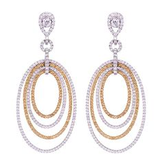 Justice Jewelry Collection Two-Toned Gold, Yellow & White Diamond Dangle Earrings #justicejewelers
