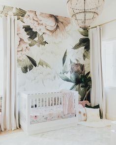 Large Blush Floral Wall Mural - Little Crown Interiors