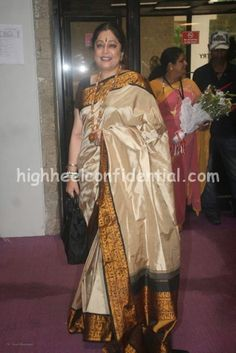 Kiron Kher gadwal silk Saree. Description by Pinner Mahua Roy Chowdhury.