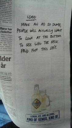 Brave newspaper ad. It works!