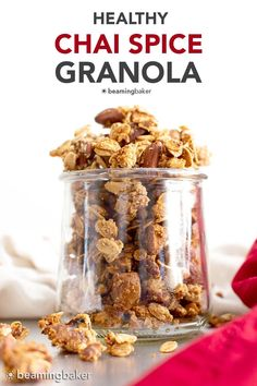Chai Spiced Healthy Granola: healthy homemade granola chai spiced to perfection! The best healthy granola: crunchy granola clusters made with healthy ingredients. #Healthy #Granola #Chai | Recipe at BeamingBaker.com Healthy Food Blogs, Good Healthy Recipes, Delicious Vegan Recipes, Vegan Desserts, Healthy Snacks, Snack Recipes, Basic Butter Cookies Recipe, Granola Clusters, Chai Recipe