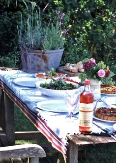 outdoor July 4 red white blue meal tables cape