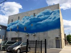 Sky on sky: nice mural on the back of the Upton's seitan factory at Hoyne and Grand, Chicago, IL (Photo: Amy DeVoogd)