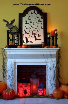 IDEAS & INSPIRATIONS: Halloween Decorations, Halloween Decor: Spooky Halloween Fireplace