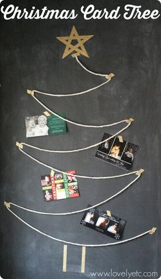 Quick and easy Christmas card display - all you need is yard and washi tape!