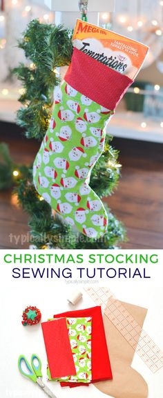Create a festive fabric Christmas stocking for your family, or favorite furry friends, using this simple sewing tutorial. #ad #christmascrafts #sewing