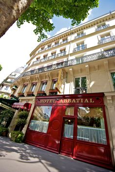 Exterior view of this TINY hotel in Paris.  The teeny elevator only held 2 people with a couple of bags... snuggly. hotel-abbatial-exterieur2.jpg (1997×3000)