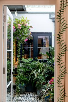 The internal courtyard garden is a lush space, packed with ferns and hanging baskets. garden design architecture internal courtyard A west London house filled with affordable design ideas Indoor Courtyard, Small Courtyard Gardens, Courtyard Design, Internal Courtyard, Small Courtyards, Courtyard House, Indoor Garden, Outdoor Gardens, Garden Design