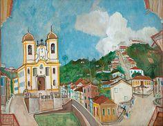Paisagem de Ouro Preto - Igreja Antonio Dias, 1962 - Alberto da Veiga Guignard