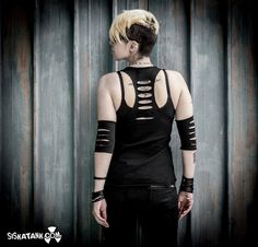 EXIGO - Nomad Black Tank Grunge Post Punk Alternative Clothing Top with Elbow Pads Edgy Goth by siskatank on Etsy https://www.etsy.com/listing/237725654/exigo-nomad-black-tank-grunge-post-punk