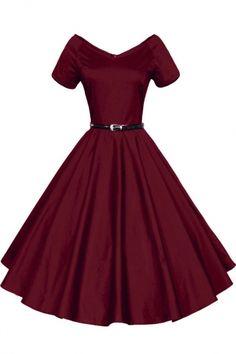 Women 1950s V-Neck Vintage Rockabilly Swing Evening Party Dress
