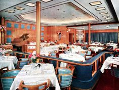 RMS Queen Elizabeth - 1939 - After Refitting ~ The ever popular Verandah Grill also received many new changes