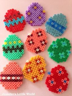 Mini Hama bead Easter Egg cake toppers
