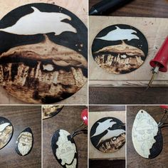A few pieces I am currently making in-between health life and a few larger pieces. My sister loves dolphins. Amanda and I hope everyone is well.  #pyrography #art #LockesLuckyMoonandStars