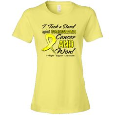 I Took a Stand Against Osteosarcoma and Won shirts, apparel and gifts featuring a distressed yellow ribbon for advocacy and celebration of your survivorship #osteosarcoma #osteosarcomaawareness #osteosarcomasurvivor