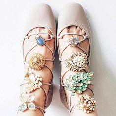 Decorating the laces .. One gorgeous way to pound the pavements - Vicki Archer  #inourshoes #stuartweitzman