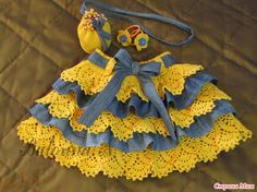 Юбочка для девочки: сочетание вязаного крючком кружева и джинсовой ткани