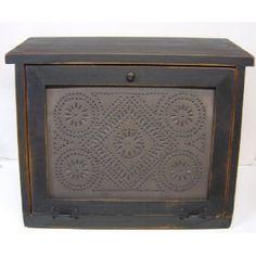 Country Rustic Primitive Bread Box Diamond Tin Design $99.99