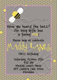 Printable Bumble Bee Birthday Party Invitation