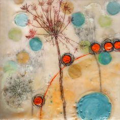 "Linda Virio - Queen Anne's Lace 3 - 8"" X 8"" Encaustic on Birch"