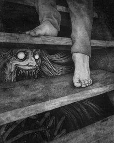 Creepy Drawings, Dark Art Drawings, Creepy Art, Weird Art, Dark Art Illustrations, Illustration Art, Images Terrifiantes, Arte Emo, Horror Drawing